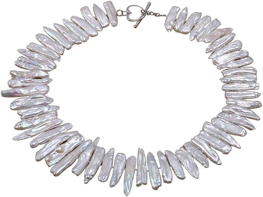 JYX - Collar de perlas de agua dulce en forma de palo blanco de 7 x 20 x 40 mm, 45,7 cm