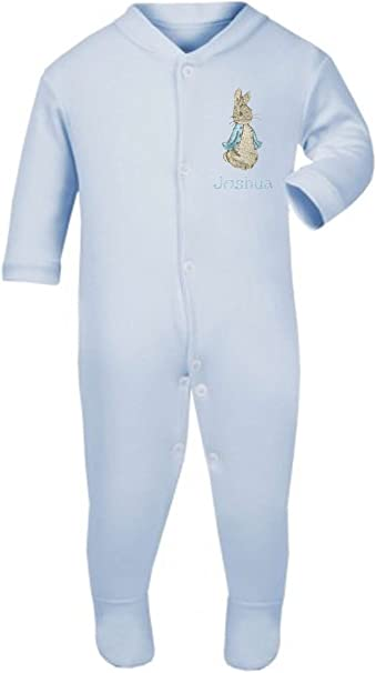 Boys Personalised Peter The Rabbit Baby Grow//Sleepsuit Now Available in Five Sizes