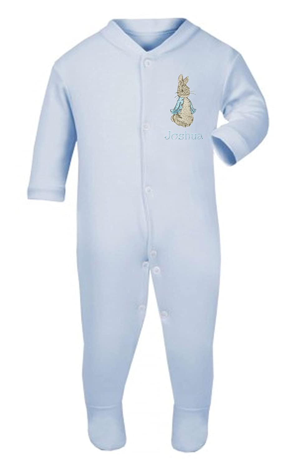 Boys Blue Personalised Peter The Rabbit Baby Grow/Sleepsuit - Now Available in 3 Sizes