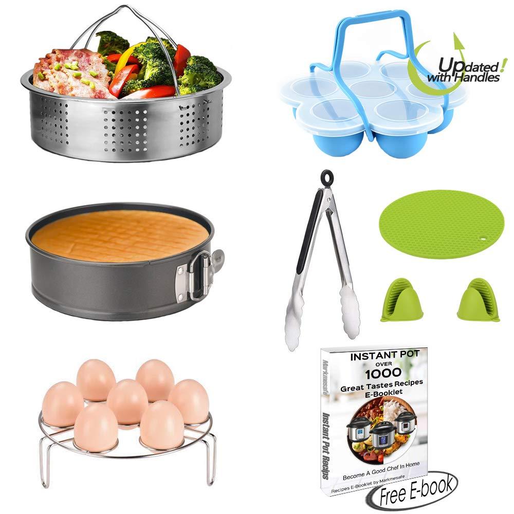 Large Steamer Basket Set for 6,8 Quart (Qt) Instant Pot Accessories Pressure Cooker, Egg Rack, Springform Pan, Egg Bites Mold, Oven Mitts, Food Tong, Bowl Clip, Free Recipes eBook, 10 PCS Markmesafe