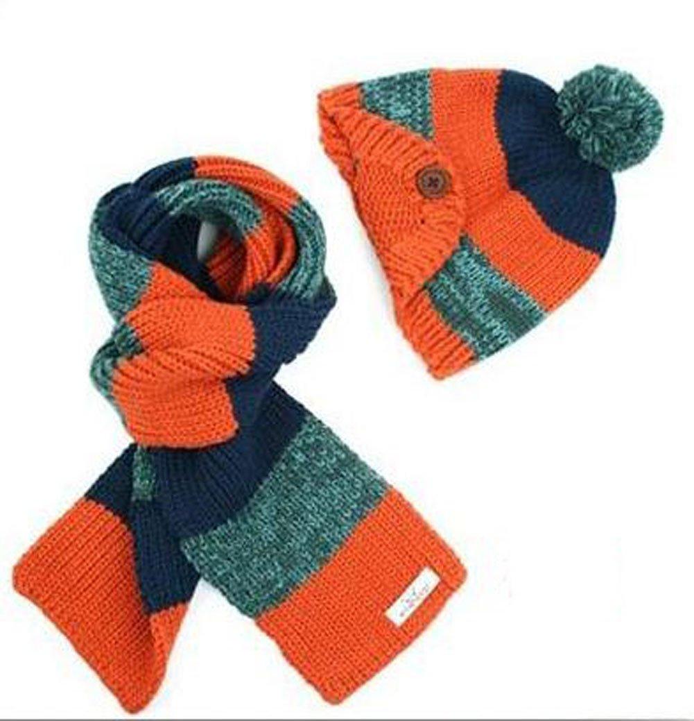 Freedi Winter Kids Boys Knitted Woolen Stripe Hat and Scarf Set Wcn541 Orange WCN541O//FDUS