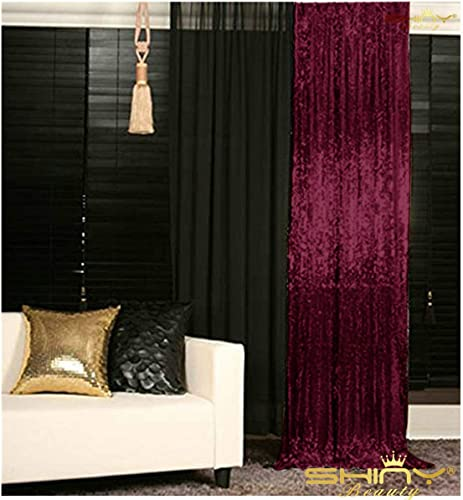Sequin Curtains 2 Panels 96 inches Burgundy Sequin Backdrop 4x8ft Burgundy Sparkle Backdrop Prom Backgrounds M0527