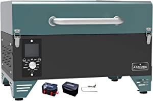 ASMOKE AS300 Electric Portable Wood Pellet Tailgating Tabletop Grill and Smoker w/ Carrying Bag, 256 Sq. in. Cooking Area, 8 in 1 BBQ Set, PID Control, Safe Certificated, Pine Green