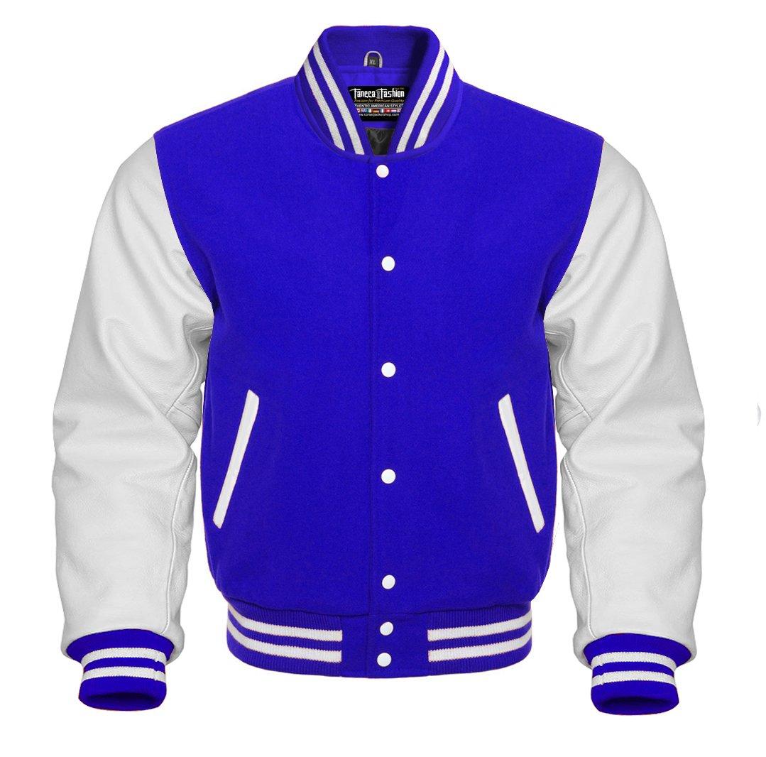 Varsity Royal Blue Wool and Genuine White Leather Sleeves Letterman Baseball Jacket (XL, Royal Blue/White)