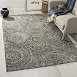 Safavieh CAP603A-8 Cape Cod Collection Flat Weave Handmade Area Rug, 8' x 10', Natural/Denim