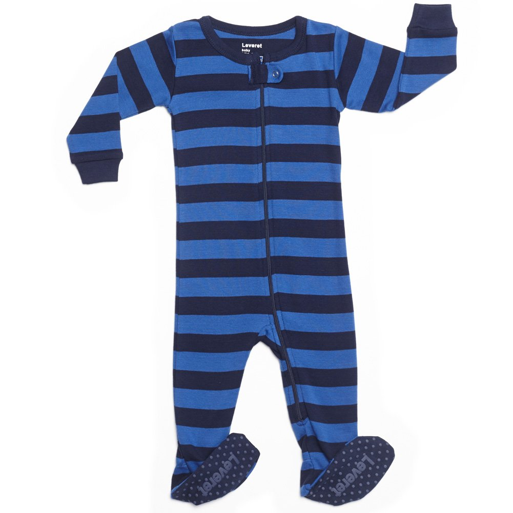 Leveret Kids Striped Baby Boys Footed Pajamas Sleeper 100% Cotton (Size 18-24 Months, Blue & Navy)