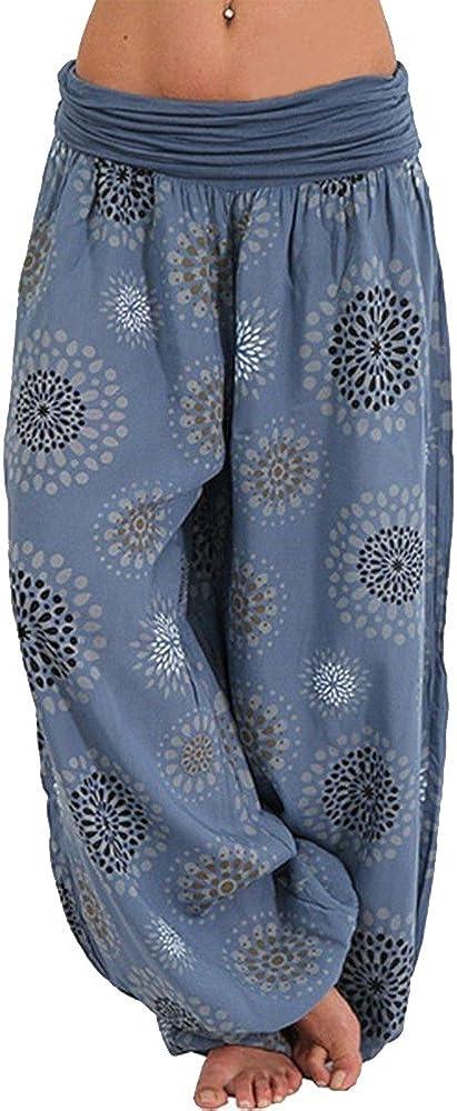 Decha Pantalon Bouffant Femme /Ét/é Palazzo Sarouel Harem Ample Large Jambre Imprim/é Baggy Trousers Pants Casual Yoga Sport