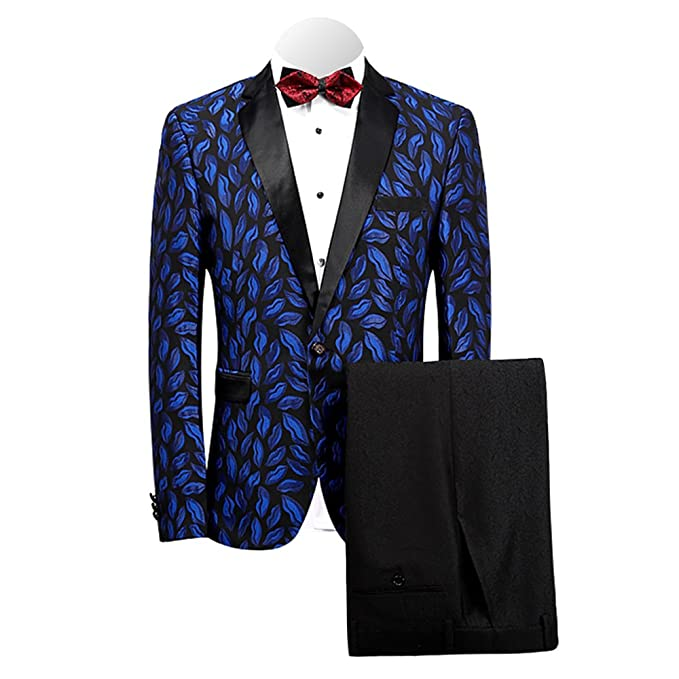 Amazon.com: Mage macho hombre 2-Pieces traje Slim Fit Chal ...