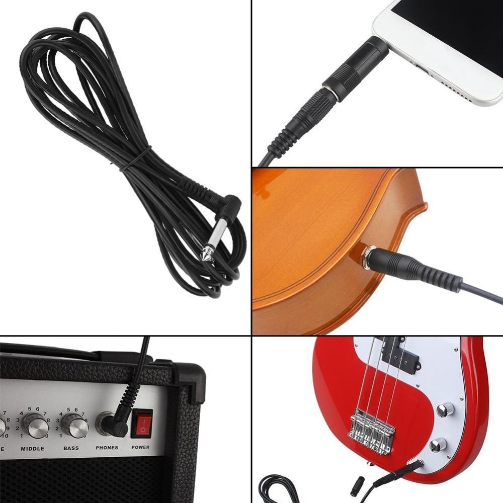 c/âble de connexion avec trois t/êtes de commutation C/âble pour instrument de guitare /Équipement audio musical noir