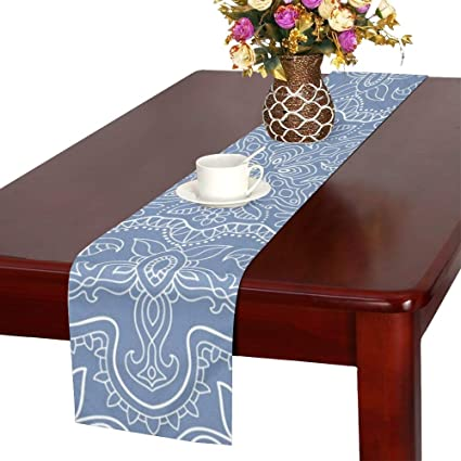 Amazoncom Wbsndb Abstract Graphic Blue White Table Runner Kitchen