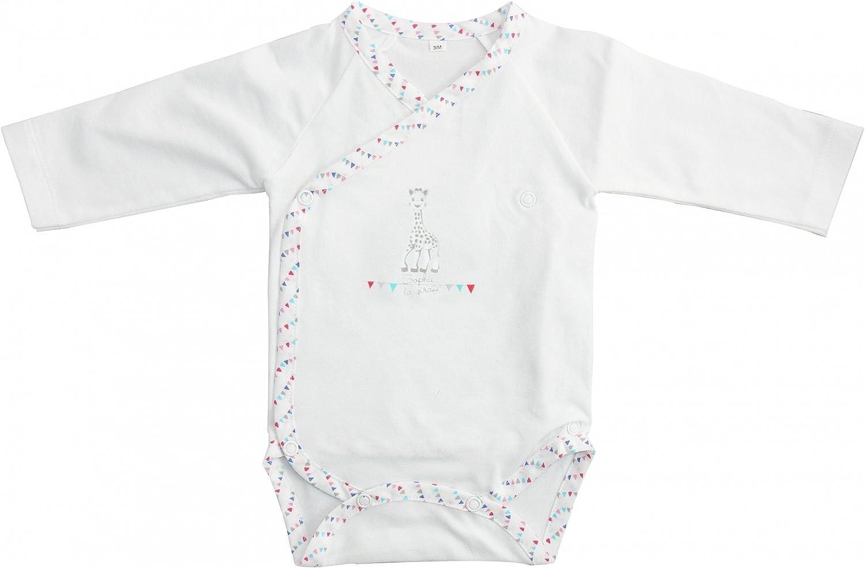 Mayoparasol – Color blanco y gris de manga larga Body de – Sophie la jirafa – bebé niño y niña