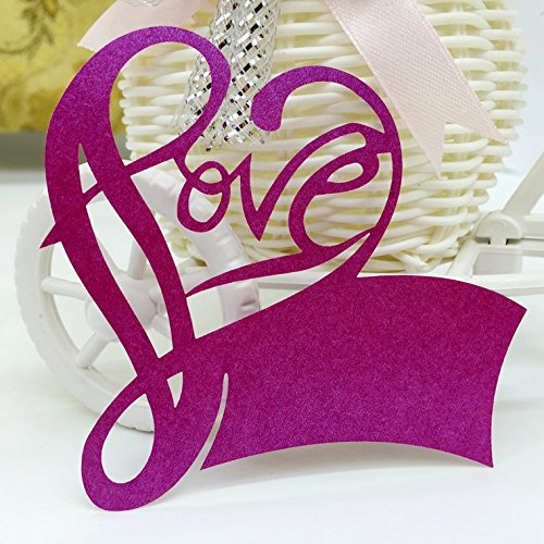 100 Pcs Love Heart Wedding Guest Name Place Cards Laser Cut Wine Glass Table Decoration For Party (Violet)