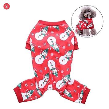 Navidad muñeco de Nieve Pijamas de Cuatro Patas Ropa para Mascotas