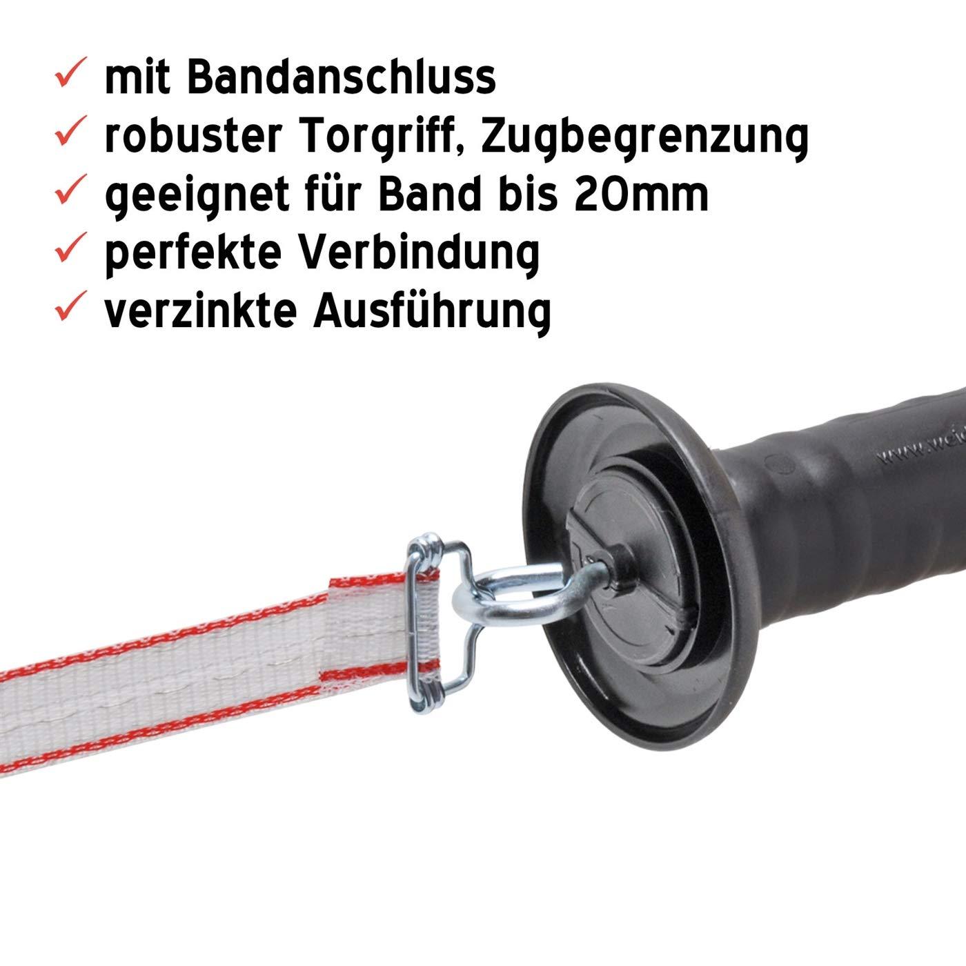 VOSS.farming Torgriff f/ür Weidezaun gro/ß mit Haken und 20mm Bandverbinder Weidezaunband