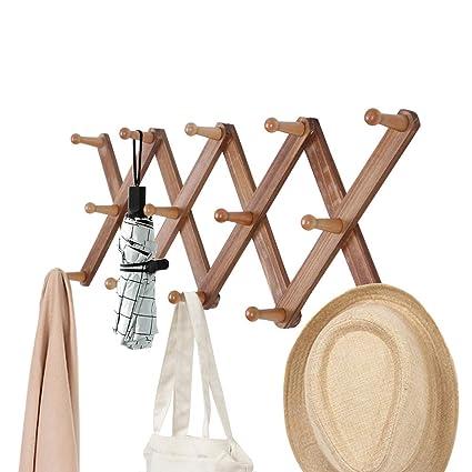 OROPY Perchero de madera extensible montado en la pared ...