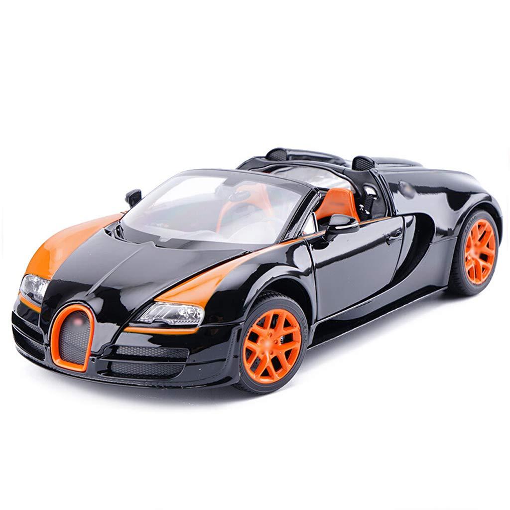 schwarz Orange FDHLTR Modellauto Bugatti Veyron 1 18 Simulation Simulation Druckgusslegierung statisches Spielzeugauto Modell 24.5x12x7cm Auto Model (Farbe   schwarz Orange)
