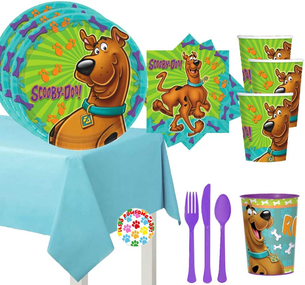 Scooby Doo Birthday Party Supplies Pack For 16 Guests With Scooby Doo Party Plates, Napkins, Cups, Tablecover, Cutlery, One Favor Cup and Pin