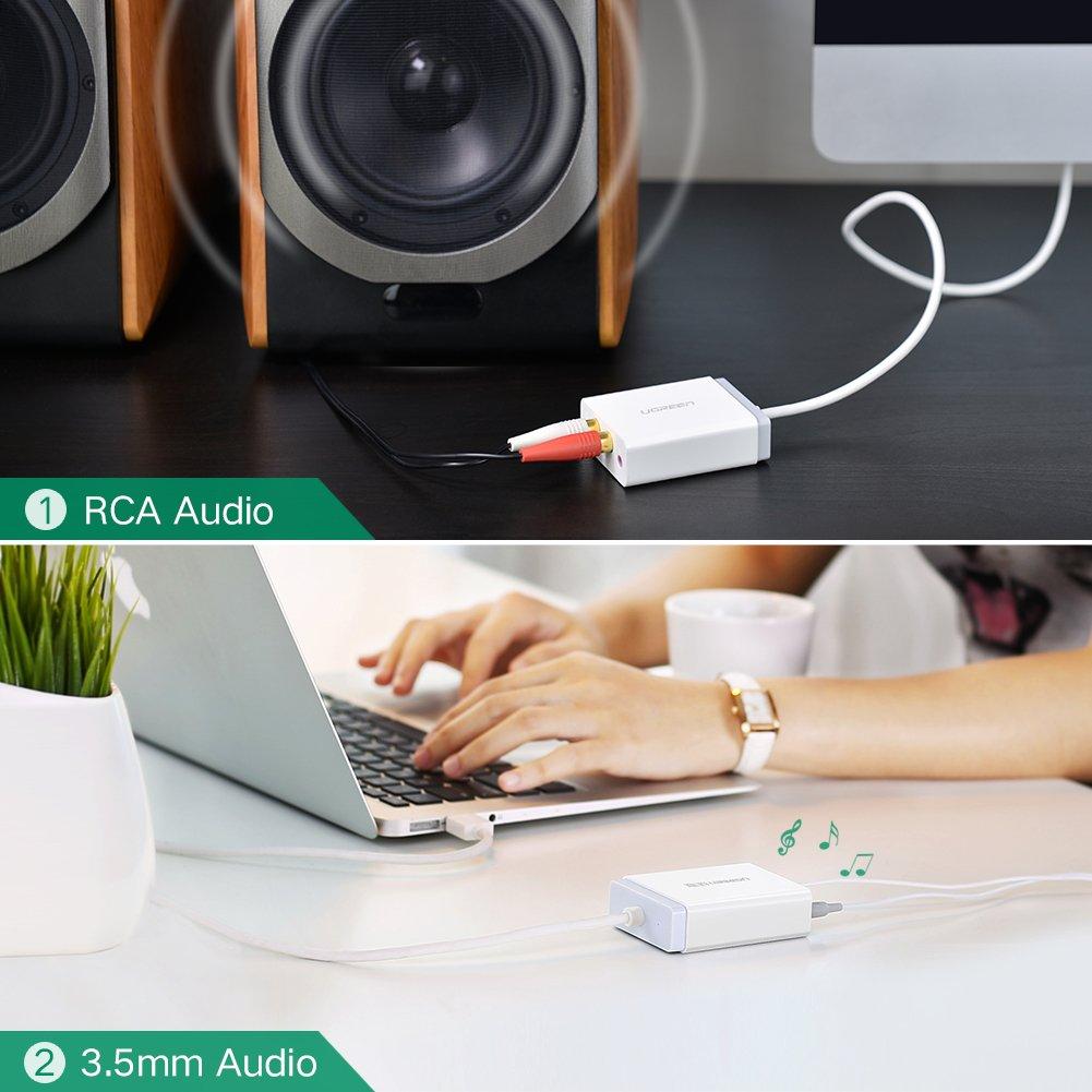 UGREEN USB Adaptador de Tarjeta de Sonido Externa para 3.5mm Altavoces, Auriculares, Micrófono y 2RCA Altavoces, Plug and Play para Windows, Mac, ...