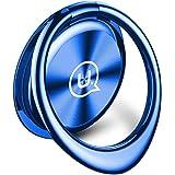 スマホリング ホールドリング バンカーリング 薄型 スタンド機能 落下防止 車載ホルダー 360回転 スマートフォン・タブレット全機種対応 (ブルー)