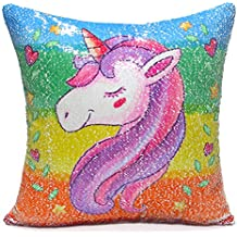 "ICOSY Unicorn Mermaid Pillow Case Magic Reversible Sequin Pillow Cover Unicorn Pillows Reversible Sequins Decorative Cushion Covers 16""x16""(Rainbow Unicorn/Silver)"