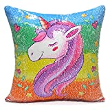 #10: ICOSY Unicorn Throw Pillow Cover Mermaid Unicorn Printed Pillowcase Reversible Sequins Decorative Cushion Covers 16