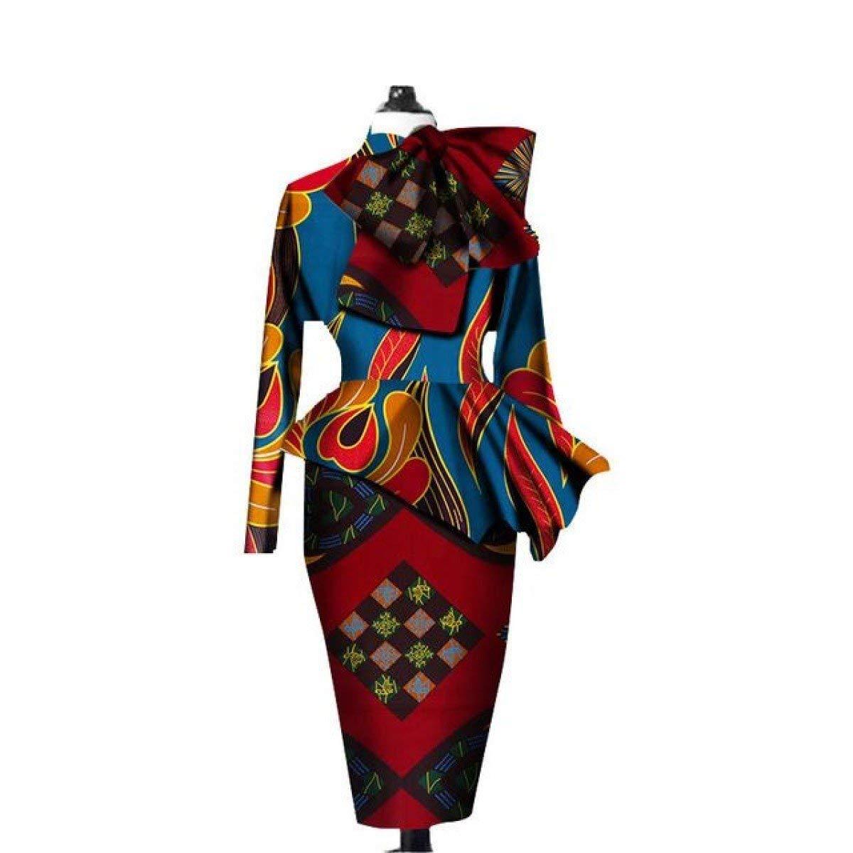 Kitenge African Dashiki Ankara 2Pc Long Sleeve Crops Top-Skirt Set X151281