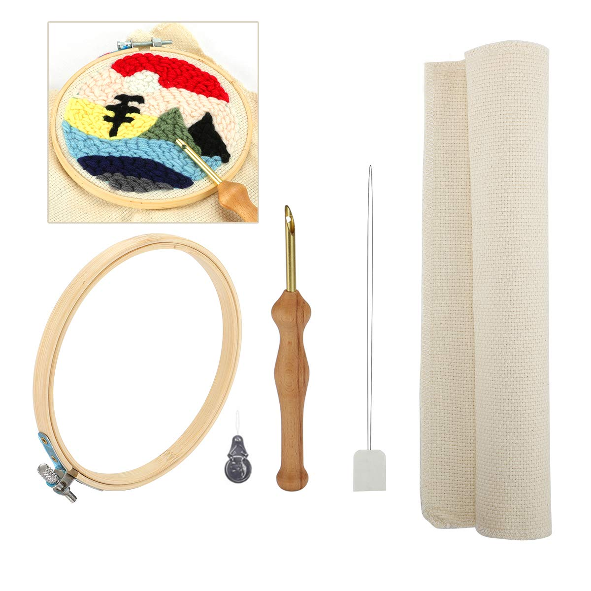Set 1 Looen Wooden Handle Embroidery Pen Punch Needle Set Craft Needlework Stitching Kit Include Embroidery Hoop Fabric Table Cloth Felting Threader