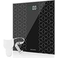 Quellance High Precision Digital Electronic Bathroom Scale with Large Backlit Display, Non-Slip Platform, Up to 400 Pounds, Body Tape Measure Included