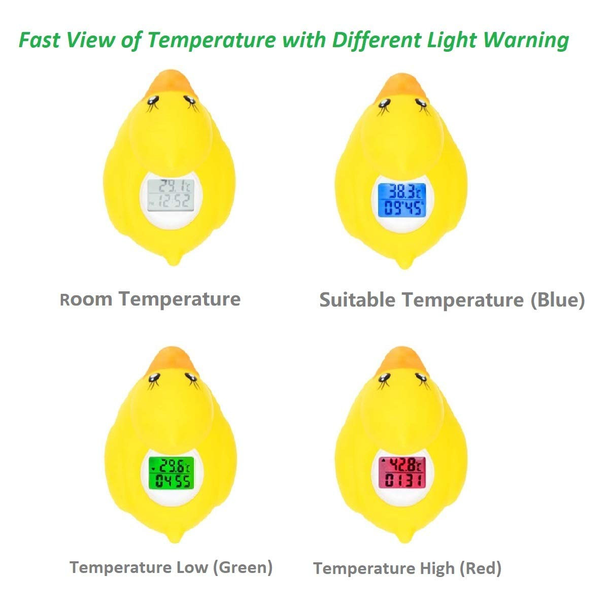 Baby Bath Thermometer, Digital Room Thermometer, Floating Bath Toy in Bathtub Swimming Pool with LED Warning Alarm, Yellow Duck