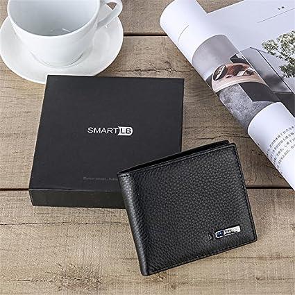 Feifuns Portefeuille anti-vol pour homme en cuir rechargeable avec tracker GPS intelligent Noir