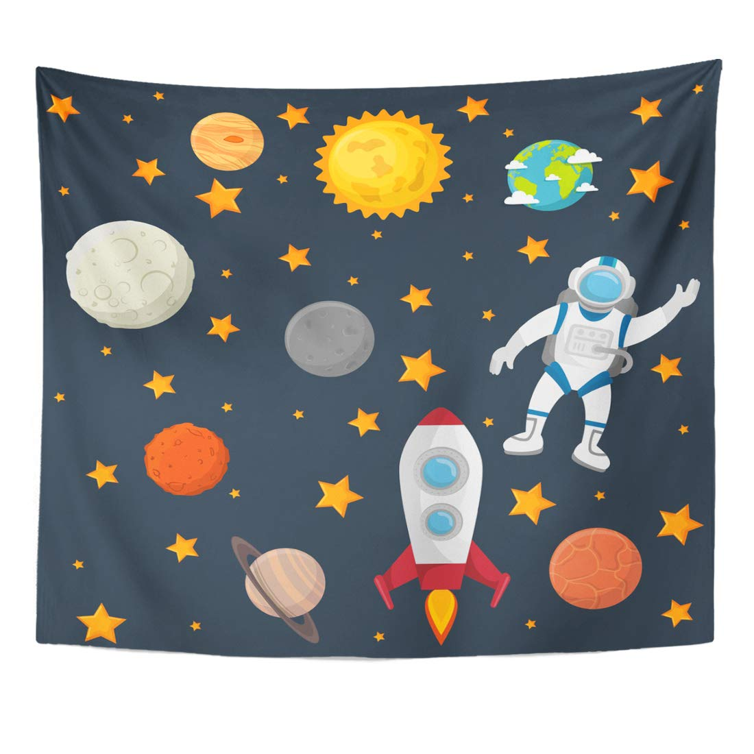 Emvency Tapestry Solar Colorful Flat Universe Planets Space Mission System Astronomy Home Decor Wall Hanging for Living Room Bedroom Dorm 60x80 Inches