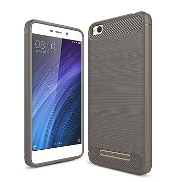 Xiaomi Redmi 4A Funda, YIGA Gris Textura Fibra de Carbono silicona ...