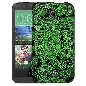 HTC Desire 510 Case, Slim Fit Snap On Cover by Trek Paisleys Outline Green on Black Case