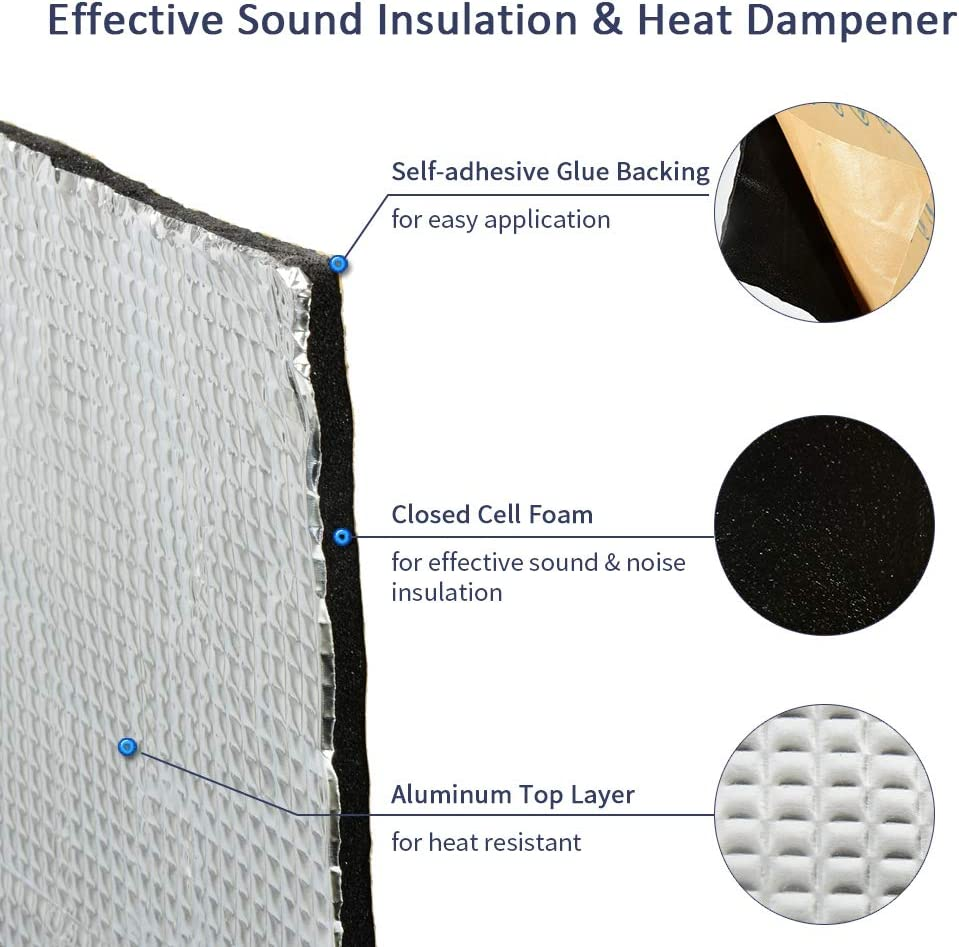 Abahub 236mil 21 sqft Car Hood Firewall Insulation Foam Automotive Heat Sound Deadener Deadening Mat Aluminum Roll