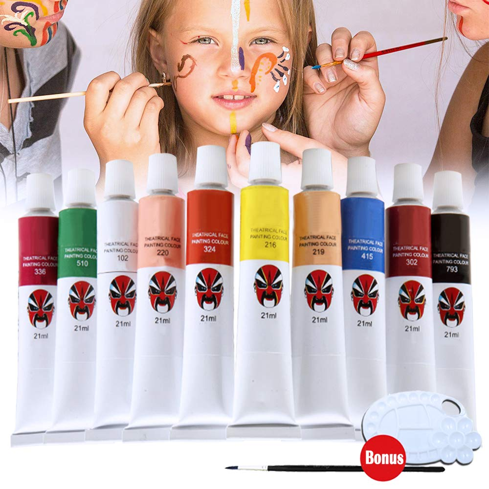 Happlee Face and Body Paint Set for Kids & Adults -10 Colors Paints, 1Pc Brush and 1Pc Palette, Non-Toxic Professional Facepaints for School, Family, Party, Halloween, Carnival (1.76 fl. oz)