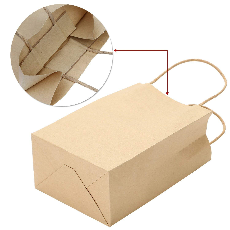ZOEON 10 Pezzi Sacchetti di Carta Kraft 20 /× 11 /× 27 cm Alta Qualit/à 125gsm Kraft Sacchetto Drogheria