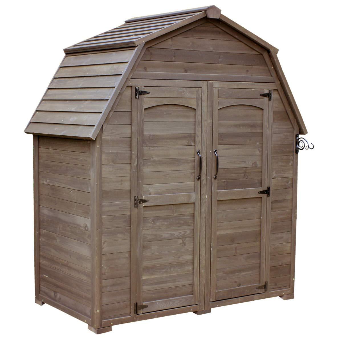 物置 屋外 大型 収納 ガーデニング 収納庫 物置小屋 木製 欧 モダン ダークブラウン B07RLR8269 ダークブラウン