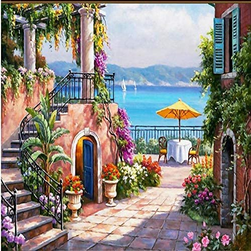 Ljjlm カスタム大壁画地中海の海辺の庭の油絵風景の背景壁紙Papel De Parede-260X180Cm