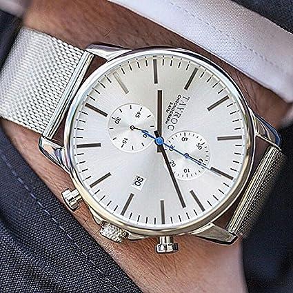 Reloj hombre RELOJ tayroc Iconic Silver Classic cronógrafo acero inoxidable cuarzo reloj de pulsera txm052: Amazon.es: Relojes