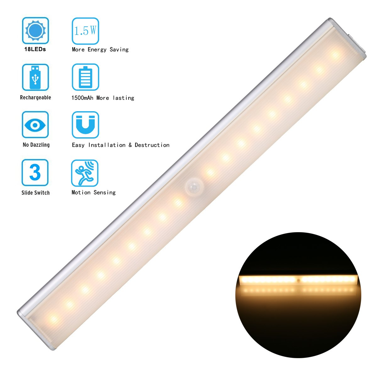 LED Wardrobe Light, 18-LED Rechargeable Motion Sensor Closet Light Warm White LED Night Light/Cupboard Light/Cabinet Light Bar Emergency lights with 1500 mAh Battery ❤1.5 watts More energy-efficient❤