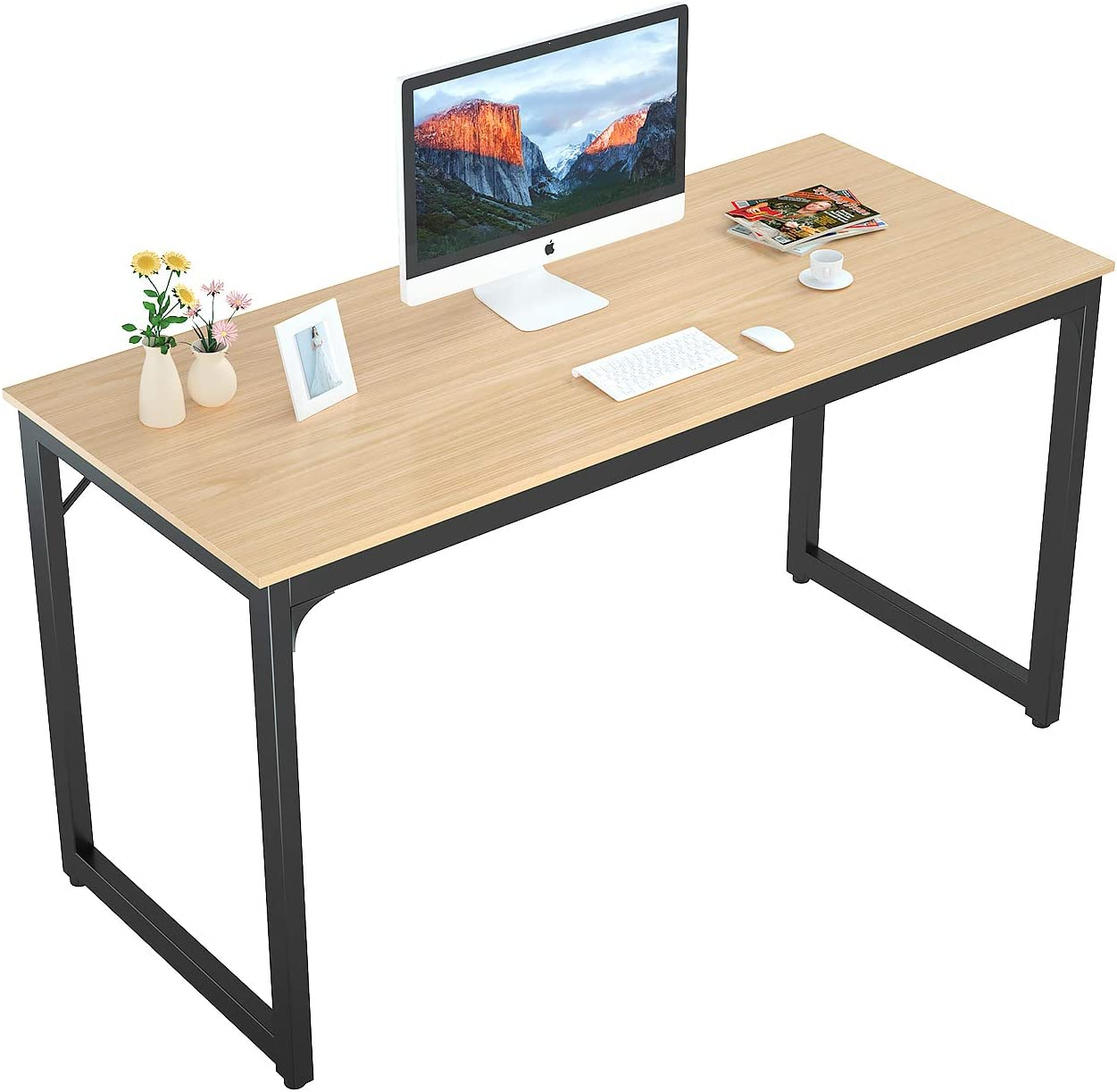 "Foxemart 55"" Computer Desk Modern Sturdy Office Desk PC Laptop Notebook Study Writing Table for Home Office Workstation, Natural"