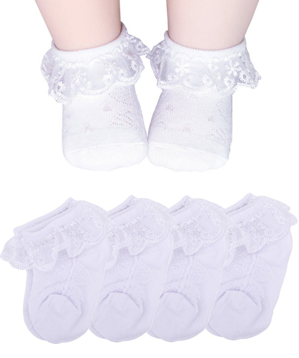 Baby Socks Girls, Frilly Lace Dress Socks for Toddler Newborn 6-12 Months Summer (Off-white, 6-12 Months) by Vextrofort (Image #1)