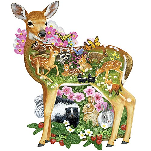 Bits and Pieces - 300 Piece Shaped Jigsaw Puzzle for Adults - Forest Baby Friends - 300 pc Forest Animals Jigsaw by Artist Jack Williams