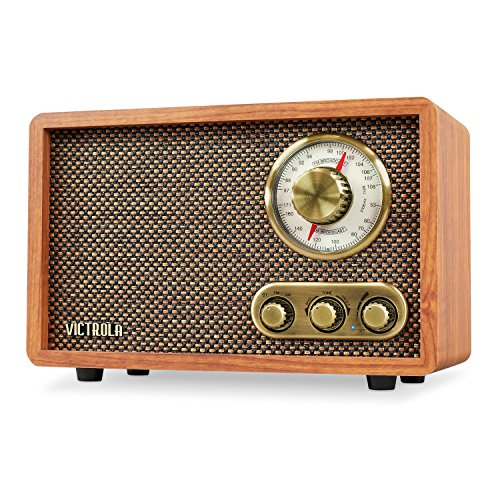 - Victrola Retro Wood Bluetooth FM/AM Radio with Rotary Dial, Walnut