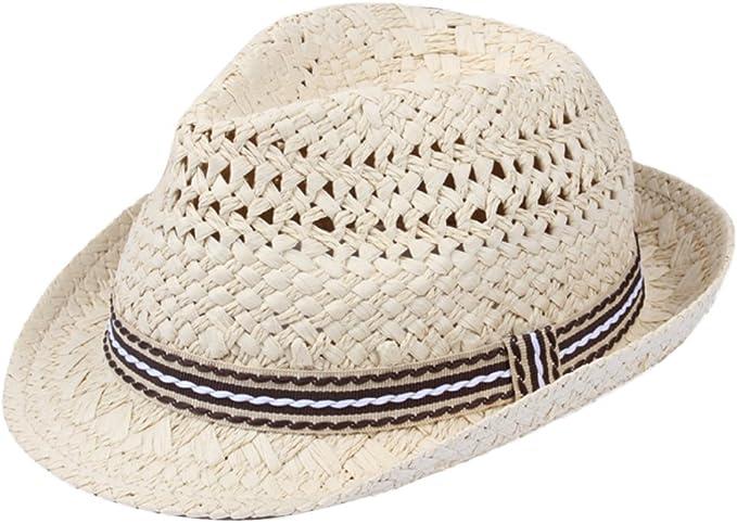 Milopon Kinder Sonnenhut Strohhut Strandhut Traveller Sommerhut f/ür M/ädchen Junge Reisen aus Stroh Cooler und Modischer Klappbare Hut gegen Sonne im Sommer