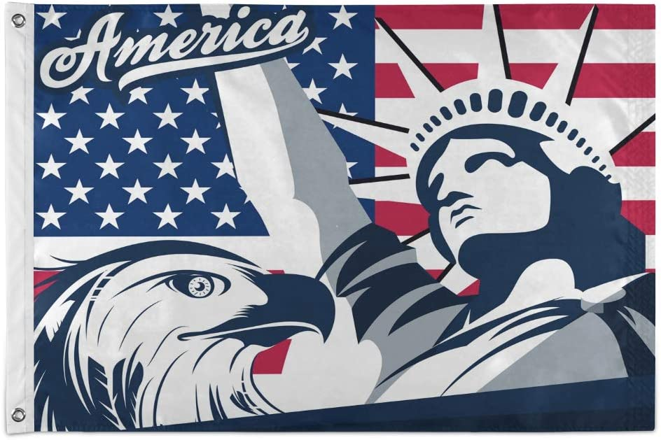 Joysay Flag 3x5 FT Outdoor Banner - Eagle American Flag Patriotic Flag with Brass Grommets Fade Resistant Outside Porch Flag Statue of Liberty 36x60 Inch Garden House Home Decor