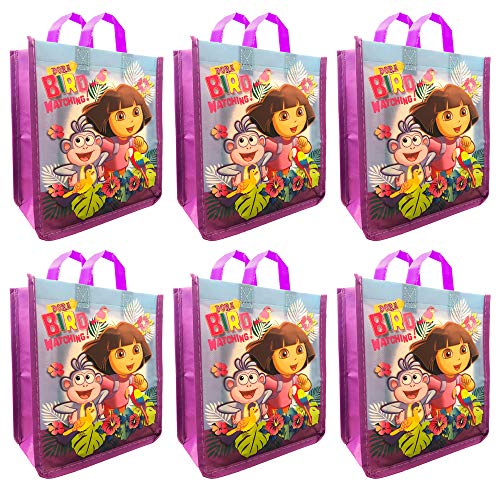 Dora The Explorer Halloween Party Supplies (Nickelodeon Dora The Explorer Party Bags Mini Reusable Tote Bags ~ 6 Pack of Dora Party Bags for Gifts, Groceries, Halloween Trick or Treat Bags and More (Dora)