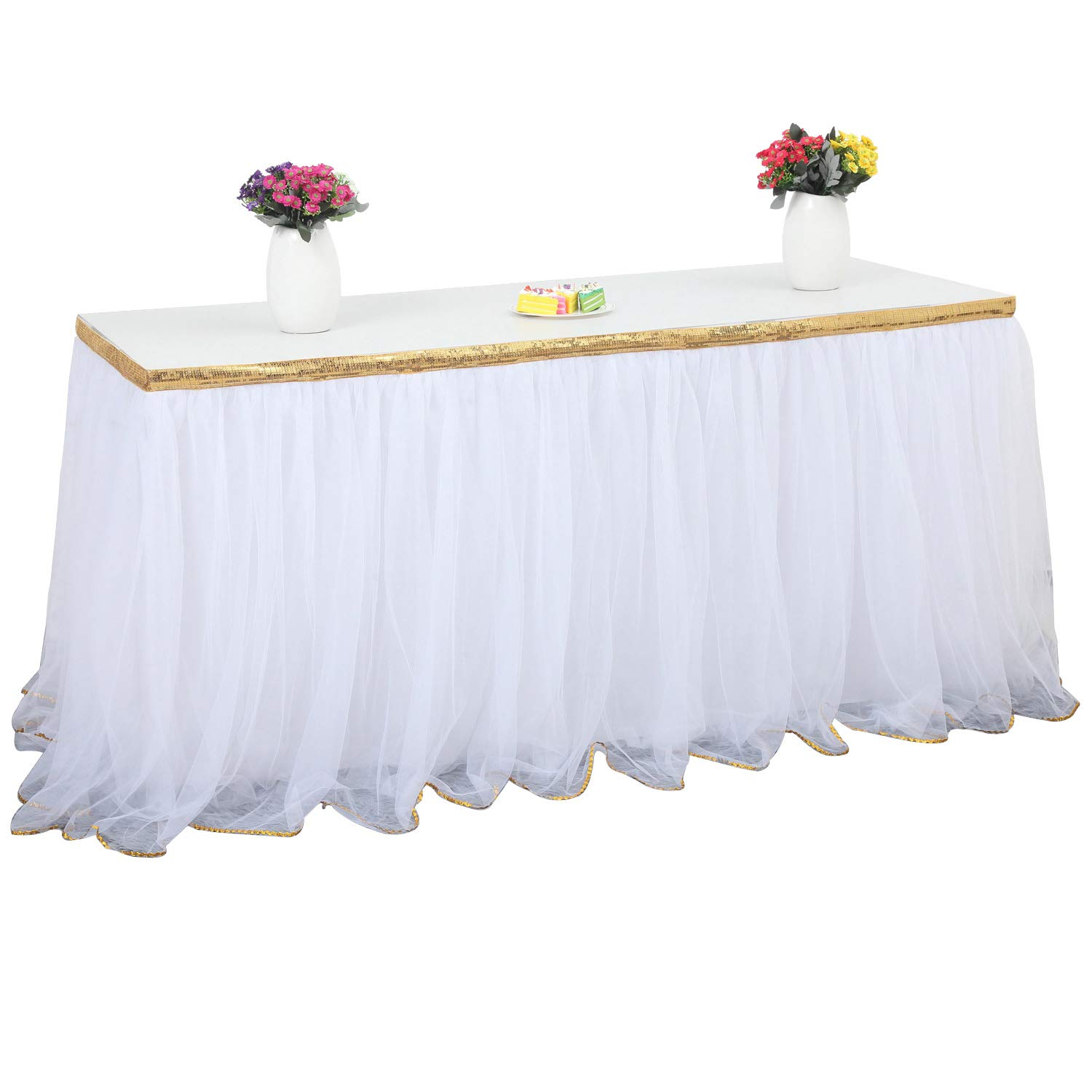 3 Yards Handmade Gold Brim Top 3 Layers Fluffy Tulle Tutu Table Skirt Mesh Tableware For Party Wedding Birthday Home Decoration (3yd Lx30in H, White 01)