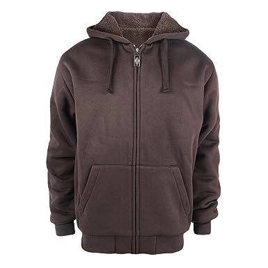38f456dbb57 TanBridge Heavyweight Sherpa Lined Plus Sizes Warm Fleece Full Zip Mens  Hoodie with Padded Sleeve