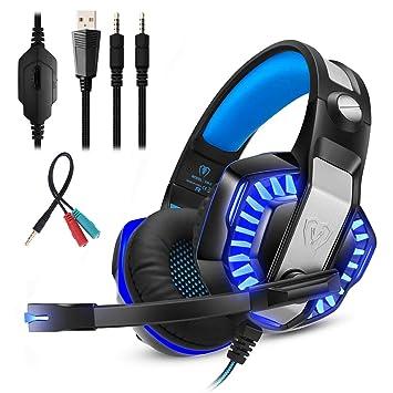 Mengshen Auriculares para Juegos para PS4 Xbox One, Auriculares con Micrófono, Sonido Envolvente De